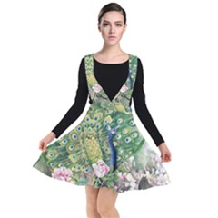 Peafowl Peacock Feather Beautiful Plunge Pinafore Dress by Sudhe
