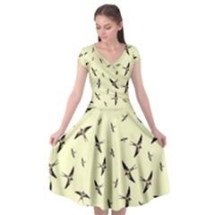 Summer Skies   Sparrows   Pastel Yellow   By Larenard Studios Cap Sleeve Wrap Front Dress by LaRenard