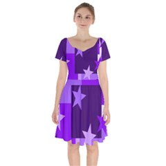 Purple Stars Pattern Shape Short Sleeve Bardot Dress
