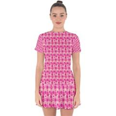 Heart Pink Drop Hem Mini Chiffon Dress