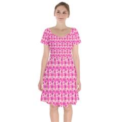 Heart Pink Short Sleeve Bardot Dress by Jojostore