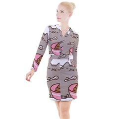 Cat Food Pusheen Kitten Button Long Sleeve Dress by Bejoart