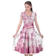 Pink Castle Cap Sleeve Wrap Front Dress