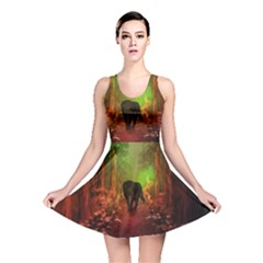 The Lonely Wolf In The Night Reversible Skater Dress by FantasyWorld7