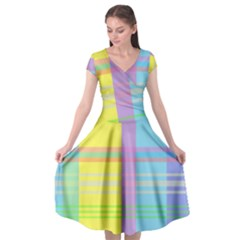 Easter Background Easter Plaid Cap Sleeve Wrap Front Dress