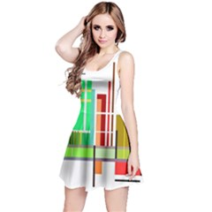Business Finance Statistics Graphic Reversible Sleeveless Dress