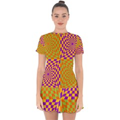 Pop Art Orange Background Drop Hem Mini Chiffon Dress
