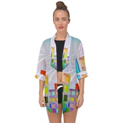City Modern Business Skyscrapers Open Front Chiffon Kimono