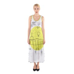 Urban City Skyline Sketch Sleeveless Maxi Dress