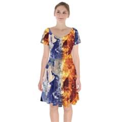 Earth World Globe Universe Space Short Sleeve Bardot Dress by Simbadda