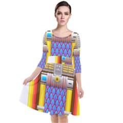 Jukebox Music Record Player Retro Quarter Sleeve Waist Band Dress by Simbadda