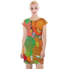 Background Colorful Abstract Cap Sleeve Bodycon Dress