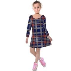 Plaid Tartan Scottish Navy Gold Kids  Long Sleeve Velvet Dress by Simbadda