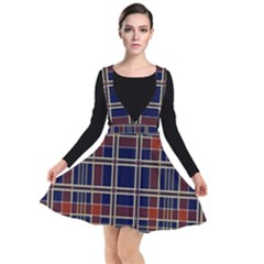 Plaid Tartan Scottish Navy Gold Plunge Pinafore Dress by Simbadda