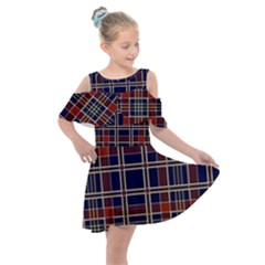 Plaid Tartan Scottish Navy Gold Kids  Shoulder Cutout Chiffon Dress by Simbadda