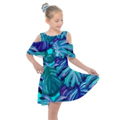 Leaves Tropical Palma Jungle Kids  Shoulder Cutout Chiffon Dress by Simbadda