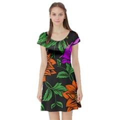 Floral Background Drawing Short Sleeve Skater Dress