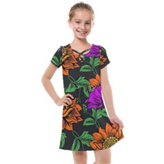 Floral Background Drawing Kids  Cross Web Dress by Simbadda