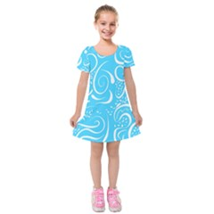 Scribble Reason Design Pattern Kids  Short Sleeve Velvet Dress by Simbadda