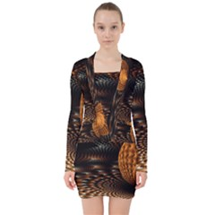 Fractals Fantasy Image Art V Neck Bodycon Long Sleeve Dress by Simbadda