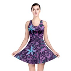 Stamping Pattern Leaves Drawing Reversible Skater Dress