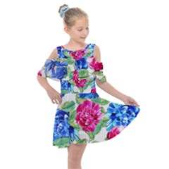 Flowers Floral Picture Flower Kids  Shoulder Cutout Chiffon Dress by Simbadda