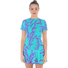 Branches Leaves Colors Summer Drop Hem Mini Chiffon Dress by Simbadda