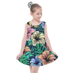 Hibiscus Flower Plant Tropical Kids  Summer Dress by Simbadda