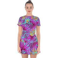 Tropical Greens Leaves Design Drop Hem Mini Chiffon Dress by Simbadda