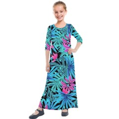 Leaves Picture Tropical Plant Kids  Quarter Sleeve Maxi Dress by Simbadda