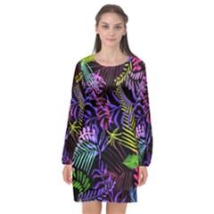 Leaves Nature Design Plant Long Sleeve Chiffon Shift Dress  by Simbadda