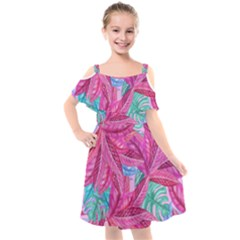 Leaves Tropical Reason Stamping Kids  Cut Out Shoulders Chiffon Dress by Simbadda