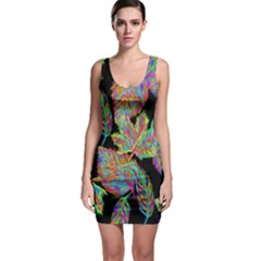 Autumn Pattern Dried Leaves Bodycon Dress