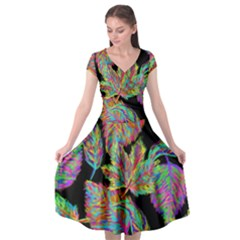 Autumn Pattern Dried Leaves Cap Sleeve Wrap Front Dress by Simbadda