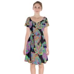 Autumn Pattern Dried Leaves Short Sleeve Bardot Dress by Simbadda