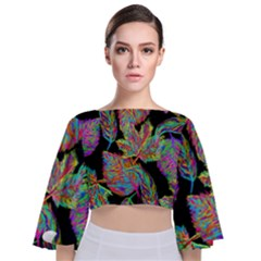 Autumn Pattern Dried Leaves Tie Back Butterfly Sleeve Chiffon Top by Simbadda
