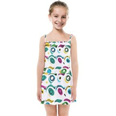 Distorted Circles On A White Background                Kids Summer Sun Dress