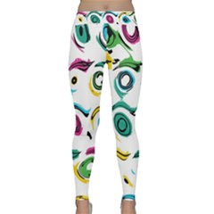 Distorted Circles On A White Background                 Yoga Leggings by LalyLauraFLM