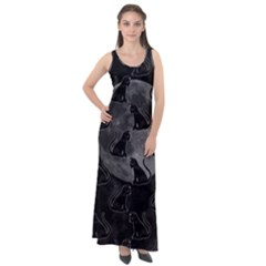 Black Cat Full Moon Sleeveless Velour Maxi Dress by bloomingvinedesign