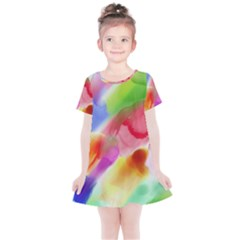 Colorful Watercolors                   Kids  Simple Cotton Dress by LalyLauraFLM