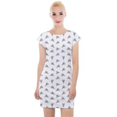 Cycling Motif Design Pattern Cap Sleeve Bodycon Dress