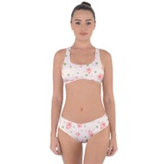 Pink Flowers Pattern Spring Nature Criss Cross Bikini Set by TeesDeck
