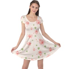 Pink Flowers Pattern Spring Nature Cap Sleeve Dress