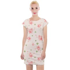Pink Flowers Pattern Spring Nature Cap Sleeve Bodycon Dress by TeesDeck