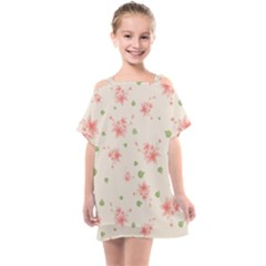 Pink Flowers Pattern Spring Nature Kids  One Piece Chiffon Dress by TeesDeck