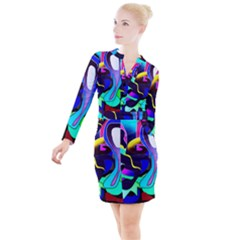 Curvy Collage Button Long Sleeve Dress by bloomingvinedesign
