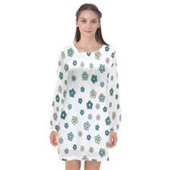 Cute Little Flowers Long Sleeve Chiffon Shift Dress  by TimelessFashion