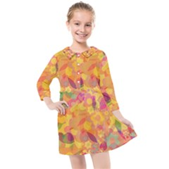Faded Flowers Kids  Quarter Sleeve Shirt Dress by TimelessFashion