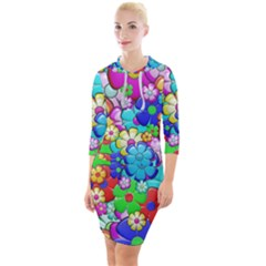 Flower With A Lot Of Power Quarter Sleeve Hood Bodycon Dress