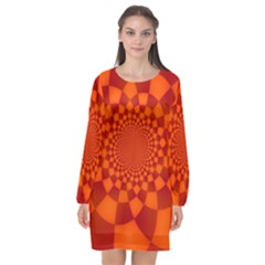 Fractal Artwork Abstract Background Orange Long Sleeve Chiffon Shift Dress